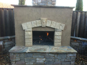 allton fireplace walls and stamped concrete
